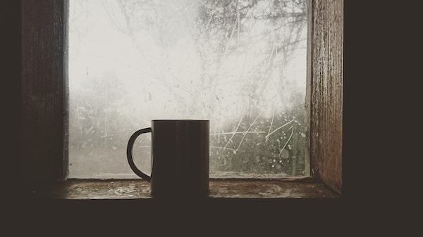 coffee mug silhouetted against cabin window