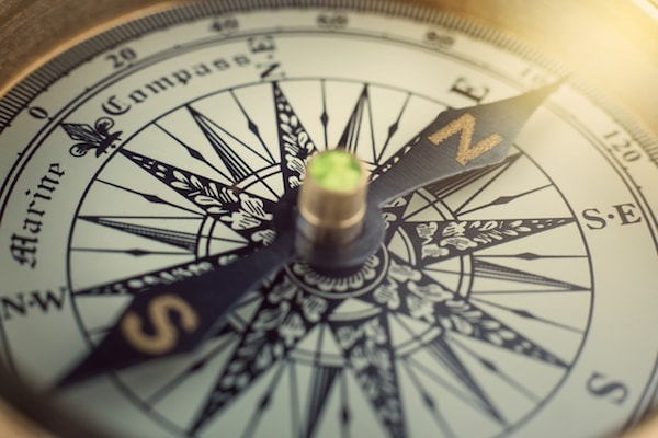 close up of marine compass